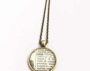 TEACH Vintage Dictionary Word Pendant
