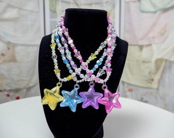 Shaker Star Choker/Bracelet with hearts and stars , comes in pink , purple , and yellow - So Kawaii !! J-fashion Decora Lolita Fairy Kei