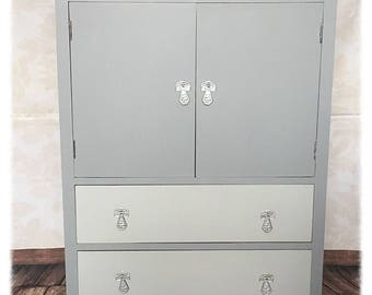 Vintage Shabby Chic Hand Painted Cabinet