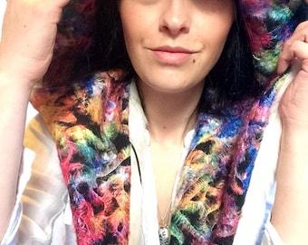 Reversible spirit hood, multi colour hood, rainbow embroidery, large fur hood, hooded scarf, festival fashion