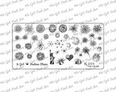 IG203 Nail Art Stamping Plate - fireworks, eagle, 4th of July, Statue of Liberty