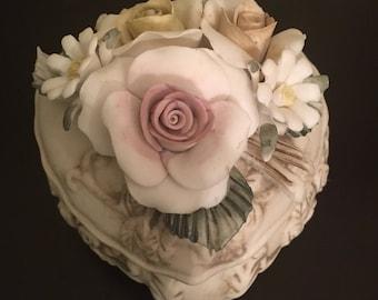 Vintage Capodimonte Lorren Home  Decor Ceramic Porcelain Heart Jewelry Box