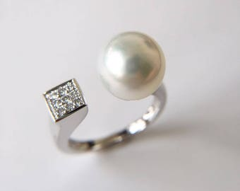10-11mm South Sea Pearl Engagement Ring Australian Pearl Ring Salt Water Pearl Ring White Pearl Engagement Ring