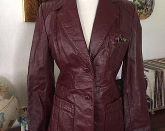 1970s Etienne Aigner Oxblood Leather Women's Jacket | Size 12