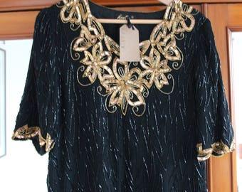 Vintage 1980s 80s Gold Black Sequin & Bead Blouse Top S M 8 10