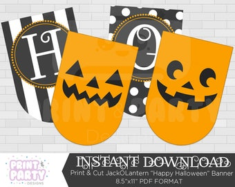 Printable Pumpkin Happy Halloween Banner, Halloween Party Decorations, JackOLantern Party Printables, Instant Download