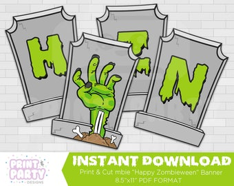 Printable Zombie Happy Zombieween Banner, Zombie Halloween Party Decorations, Zombie Bunting, Walking Dead Party, Instant Download