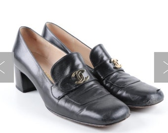 Women's Chanel Black Leather Loafer Pumps with Chunky Heels Vintage