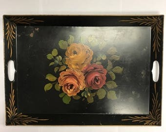 Vintage metal tole ware serving tray rectangle handles hand painted black red yellow green roses flowers floral decor