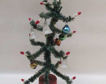 Vintage Pipe Cleaner Christmas Tree with Mini Decorations