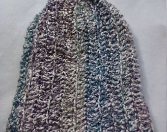half price slouchy beanie in purple blue and cream