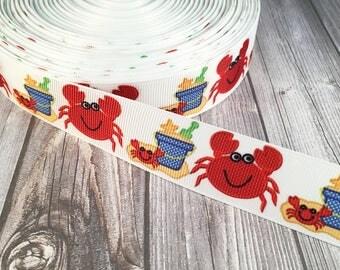 Crab ribbon - Beach ribbon - Summer ribbon - Ocean ribbon - Love to craft - Grosgrain ribbon - Craft supplies - Hair bow supplies - DIY