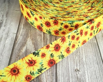 Flower ribbon - Grosgrain ribbon - Sunflower ribbon - Pretty flowers - Crafting supplies - Yellow flowers - Yellow ribbon prints - Pretty
