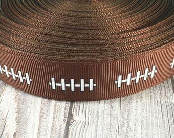 """Football ribbon - 7/8"""" Grosgrain ribbon - Sports ribbon - Laces ribbon - pigskin  ribbon - Baby shower ribbon - Crafting supplies - Crafts"""