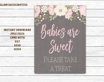 Baby Shower Sign, Baby Shower Favors Sign, Babies are Sweet Take a Treat Sign, Floral Baby Shower Sign, Rustic Sign, Grey, Canvas, Printable
