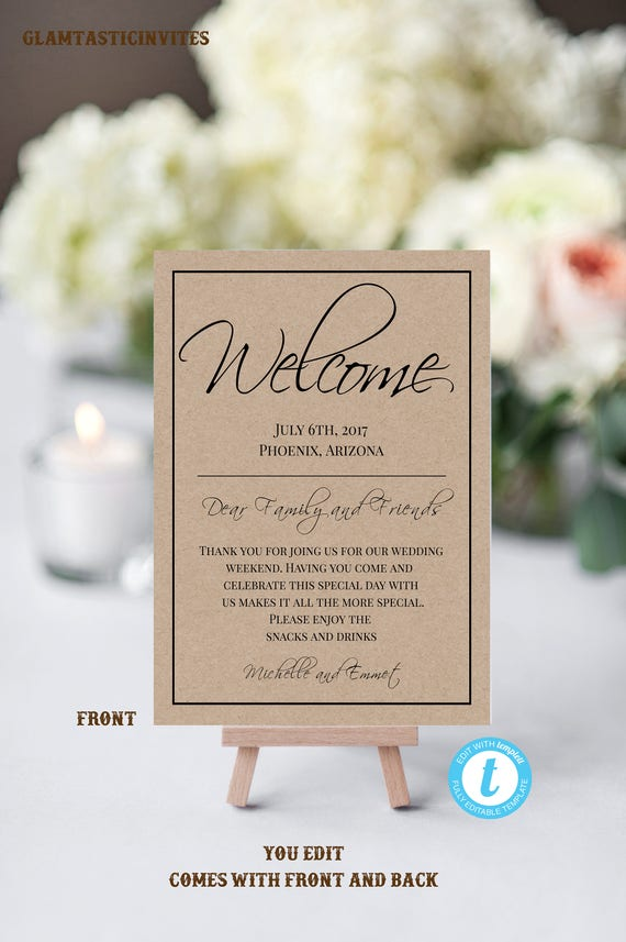 Wedding Welcome Note Template, Welcome Note, Wedding Template, YOU ...