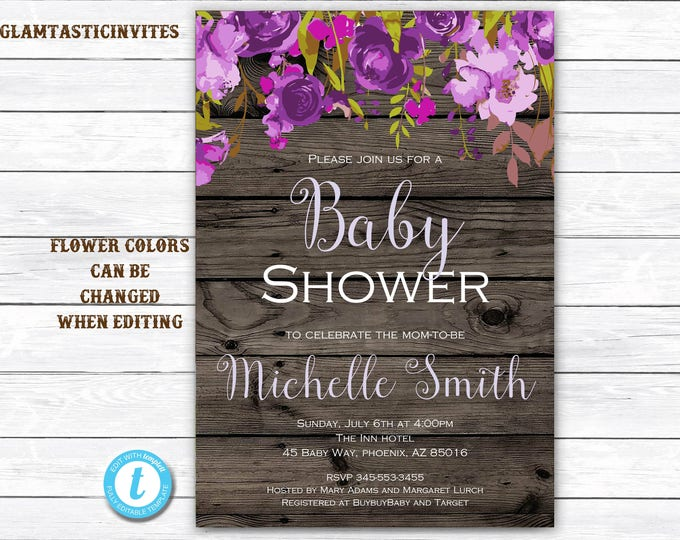 Rustic Floral Baby Shower Invitation, Baby Shower Invitation, Template, YOU EDIT, Rustic Baby Shower Invite, Floral Template, Baby Invite