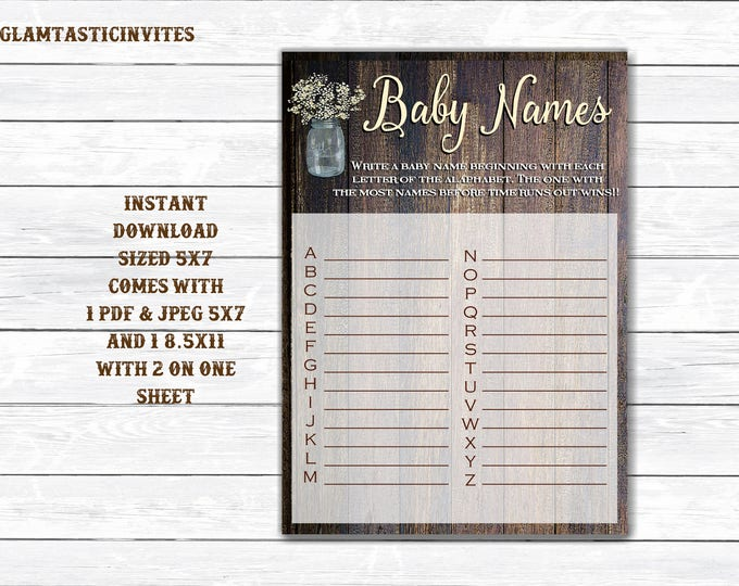 Baby Name Game, Rustic Baby Shower Game, Instant Download, Baby Shower Game, Baby Shower Activity, Rustic Shower Games, DIY, Printable, Game