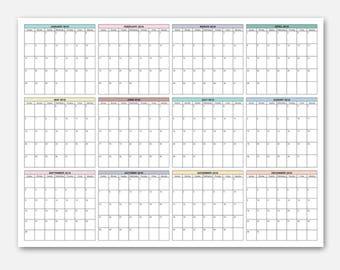 "18x24"" Wall Calendar, 2018 Calendar, At a Glance Calendar, At a Glance Planner, Year at a Glance Calendar, Yearly Planner 2018"