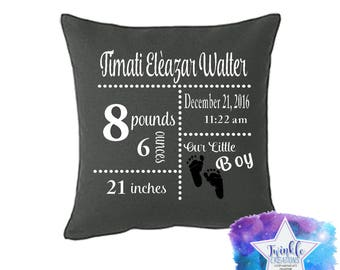 Baby Birth Stat Pillows, Baby Pillows, Personalized Birth Pillows, Custom Stats Pillow Case