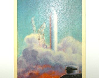 Rocket ship Vintage Soviet postcard rocket launch USSR card space rocket Russian postcards spaceship unused postcard space birthday party