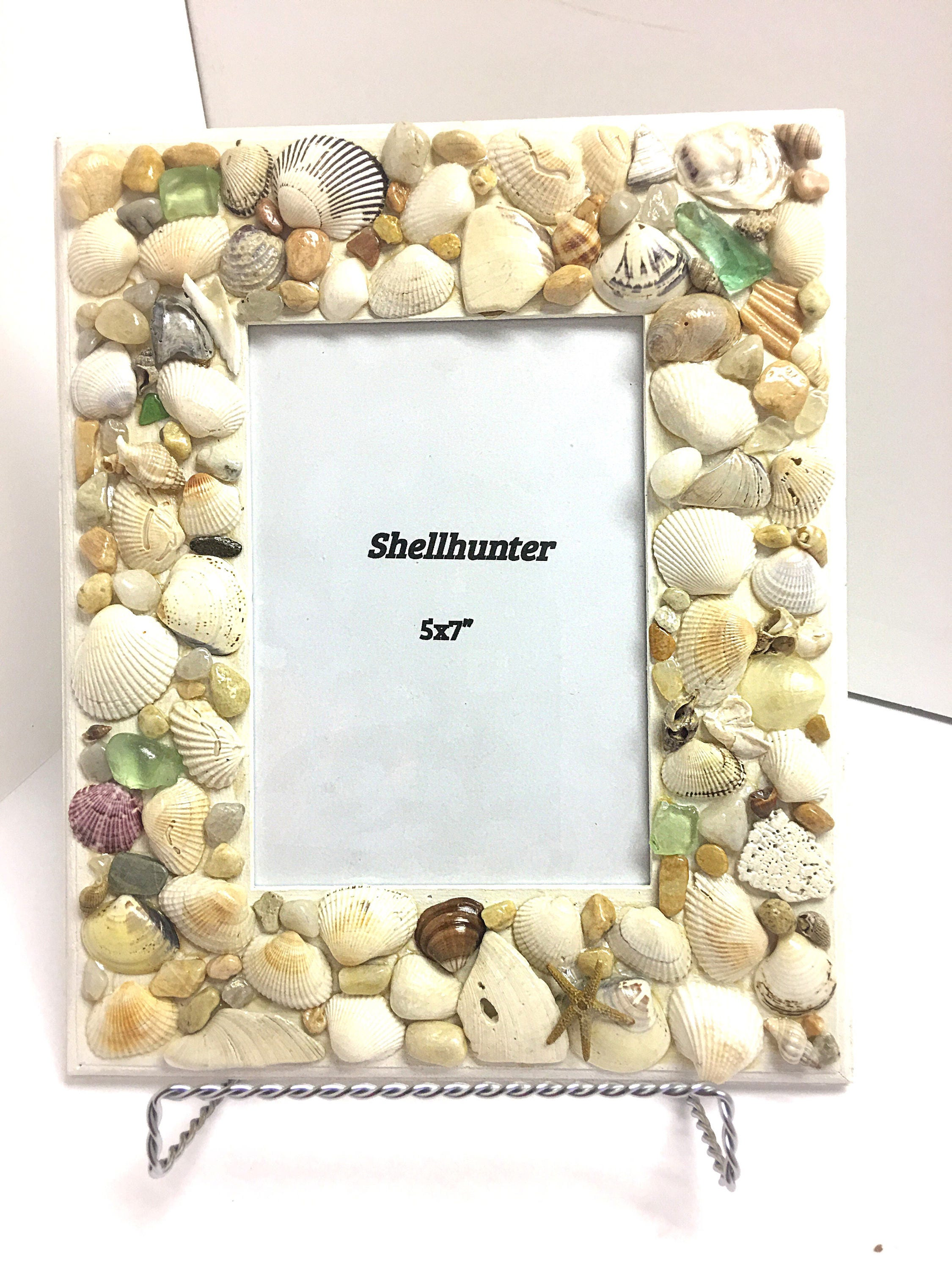 Beach decor seashell frame for 5 by 7 photo white coastal decor 775 shipping jeuxipadfo Image collections