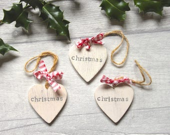 Small Wooden Hearts | Christmas Decorations | Tags - Distressed