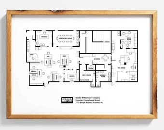Architectural print etsy the office floor plan the office tv show the office poster us malvernweather Image collections