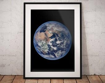 Earth print: Earth wall art, Earth art, Earth poster, Earth gift, Earth from space, planet Earth, Earth decor, space print, poster, wall art