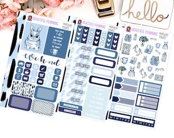 Monday Blues Personal Size Tn Size Weekly Kit - Planner Stickers, Filofax, Kikki K, Websters Pages, Fashion, Glitter.