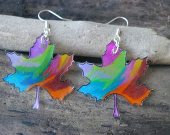 beautiful multicolored carved leaves