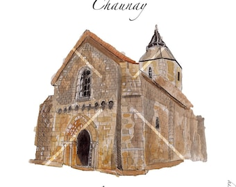 Card after my original watercolor of Chaunay village church