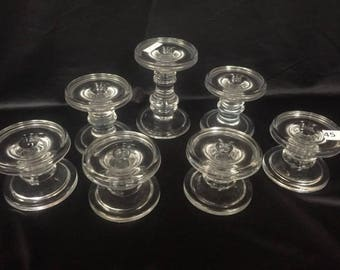 7 Clear Glass Candleholders