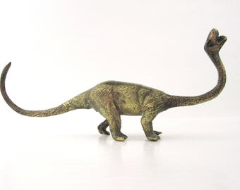 Vintage Brass DINOSAUR Figurine Statue~Long Neck Dinosaur~Mid Century Modern Decor~Prehistoric Dino