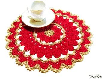 Crochet Christmas doily, Gold and Red Christmas doily, Centrino Natale