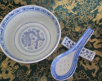 Chinese Dragon Rice Grain Bowl  Spoon and Spoon rest  1 Sold / 1 for sale