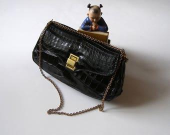 Handbag for woman leather bag/antiquityfrench/black vintage leather / / Jackie/Kelly/target Style MOD hand bag