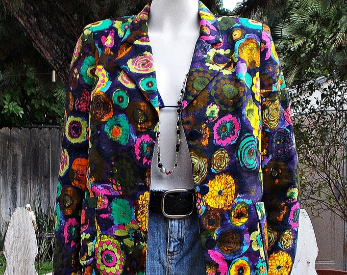 Vintage 80s Hippie Chic Womens Psychedelic Bright Neon Flowers Floral Cotton Blend Long Sleeve Blazer Jacket M