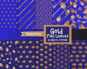 Gold Autumn Digital Paper, Royal Blue Digital Paper, Gold Fall Digital Paper, Gold Fall Paper, Gold Thanksgiving Paper, Blue Fall Paper Pack
