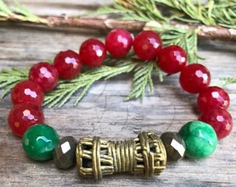 Vintage African Trade Brass Paired with Pyrite and Faceted Agate Gemstones Bracelet