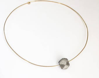 gold plated pyrite pendant necklace