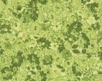Moda Summer Breeze Quilt Fabric 1/2 Yard By Sentimental Studios - Tonal Petals Green 32465 17