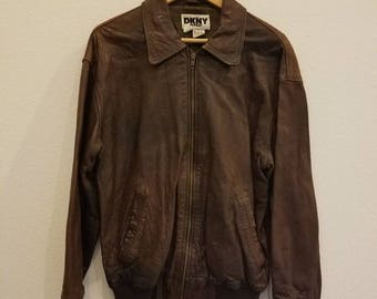 Vintage Brown Leather DKNY Bomber Jacket