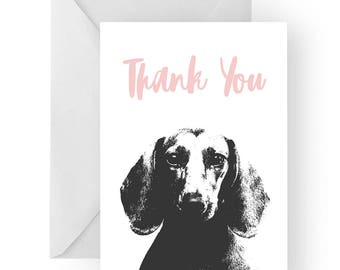 Dachshund thank you card- Dachshund greeting card, dog card,Dachshund thank you card, Dachshund gift, thankyou card, sausage dog card