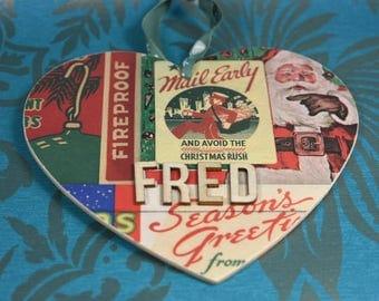 Custom Tree Decorations, Vintage theme, Christmas gifts, Decoupaged Heart, Xmas Tree Decoration, Personalised Christmas Tree Decoration