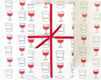 RED WINE Gift  Wrap, Funny Wrapping Paper, Funny Gift Wrap, Birthday Gift Wrap, Gift Wrap for Boyfriend, Gift Wrap Funny, Wine Gift,