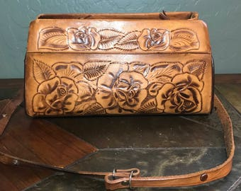 Vintage Mexican Tooled large leather bag