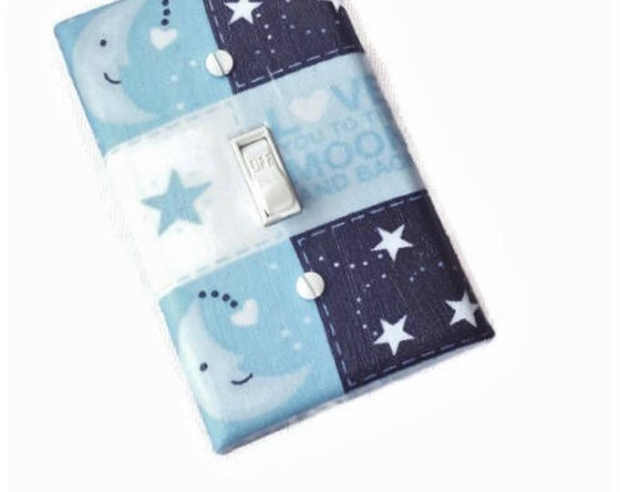 Featured listing image: Love You to the Moon and Back Switchplate for Boys Nursery