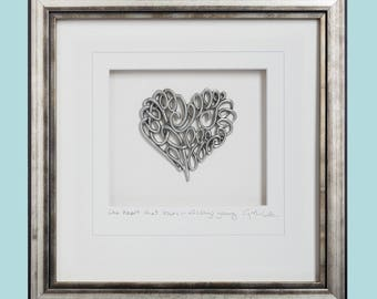 Scroll Heart, Pewter, Framed