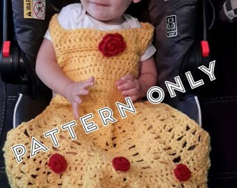 Princess Dress Blanket, Yellow, crochet pattern, Digital Download, PDF only, Infant Baby Sizes, Carseat Blanket